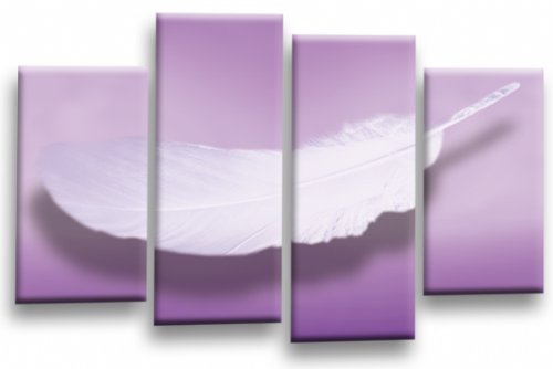 Modern Abstract Wall Art Picture Feather Love Print Purple White